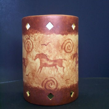 Petroglyph Pony Ceramic indoor Wall sconce made to order in NM USA