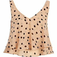 Beige polka dot double layer V neck crop top