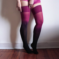 Ruby Ombre Thigh Highs | Dip Dyed Gradient Stay-Ups by Velvet Heart | Playful Sophisticated Legwear at Between the Sheets