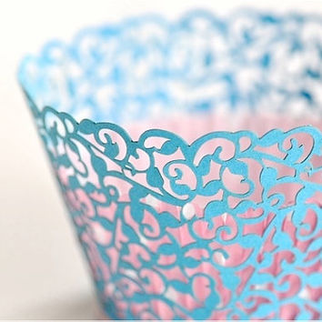 20 Filigree Laser Cut Lace Cupcake Wrappers Wraps - 15 Colors Available