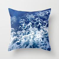 Sea Waves Throw Pillow by Jenna C.