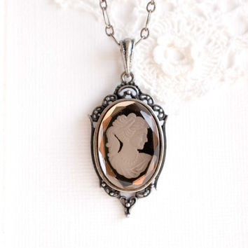 vintage cameo necklace vintage glass cameo necklace OOAK gift for mom
