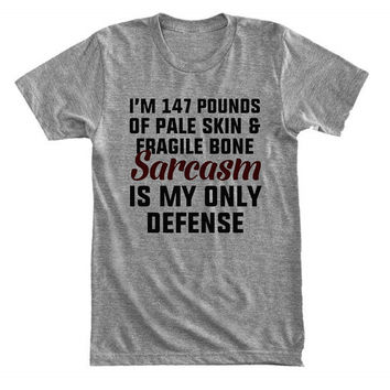 I'm 147 pounds of pale skin & fragile bone. Sarcasm is my only defense - Stiles Stilinski - Gray/White Unisex T-Shirt - 152
