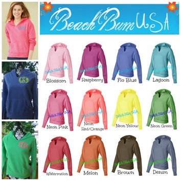 Ladies Monogram Hoodie Sweatshirt Comfort Colors Custom Embroidery Christmas GIfts Under 50 Dollars