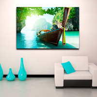 "Canvas Print Artwork Stretched Gallery Wrapped Wall Art Painting Boat Ship Island Sea Ocean Heaven Large Size 26x39"" (can16)"