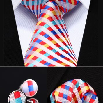 Red Yellow Check Silk Men Tie Necktie Handkerchief Cufflinks Set