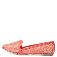 Coral Crochet Lace Smoking Slipper Loafers by Charlotte Russe