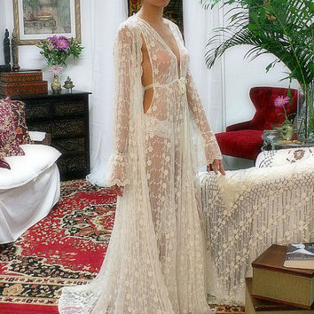 Embroidered French Lace Bridal Robe Sarafina Dreams 20's Inspired Heirloom Collection Wedding Lingerie