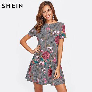 SHEIN Flower Print Plaid Smock Dress Black and White Short Sleeve Drop Waist A Line Dress Elegant Floral Dress