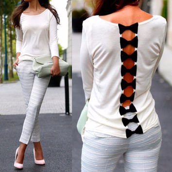 newest Fashion Womens Girls Sexy Back Bow Casual Long Sleeve Pure Blouse Tops