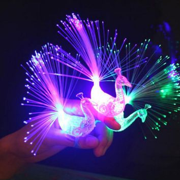 Hot 1Pcs Cute  Night Discolor Finger Light Peacock Electronic Toys Party Bar Novelty Supplies Kids Baby Children Toy Gifts 2017