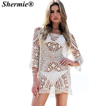 sherimie Beach Cover up Bathing Suits Lace Bikini Cover ups Women Swimwear Beach Tunic Dresses saida de praia pareo cover bikini