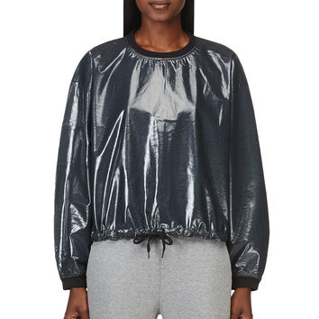 T By Alexander Wang Petrol Blue Laminated Terry Boxy Sweatshirt