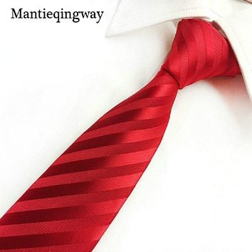 8cm New Designers Ties for Mens Classic Striped Plaid Ties for Men Business Wedding Suit Jacquard Red Neck Ties