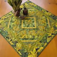 Handmade Quilted Green and Gold Leaves Table Topper