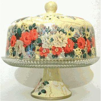 White and Red Rose Glass Domed Pedestal Cake Stand