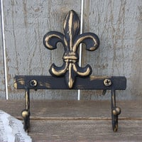 Shabby Chic Hook, Fleur de Lis, Black, Gold, Hand Painted, Double Hook, Metal,  French Decor, Coat, Purse, Towel, Wall Decor