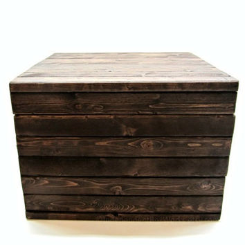 Made to Order Crate Style Medium to Large Storage Cube - Rustic Coffee Table with Storage - Wooden Side Table Box - Wood Bedside Table