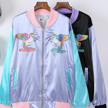 2017 New Cute Rainbow Horse Floral Embroidery Harajuku Spring Jacket Women Unicorn Zipper Casual Loose Long Sleeve Baseball Coat