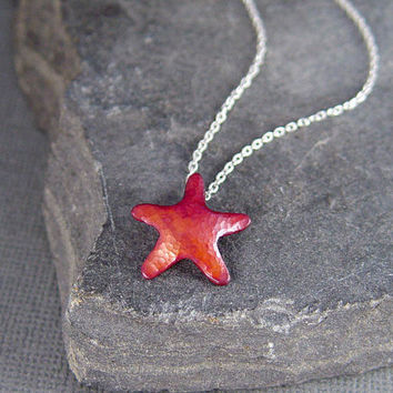 Starfish Necklace Orange and Pink Heat Patina Copper by HapaGirls