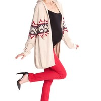Olian Sabrina Long Cardigan Maternity Hooded Sweater