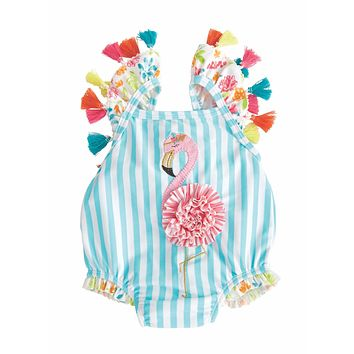 MUD PIE FLAMINGO TASSEL SWIMSUIT
