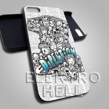 AJ 1940 One Direction Cartoon Design - iPhone 4/4s/5 Case - Samsung Galaxy S2/S3/S4 Case - Black or White