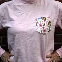 Phi Mu Long Sleeve Tee Shirt in Blossom with Pattern Pocket by the Frat Collection