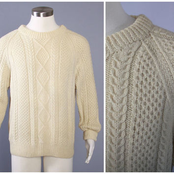 70s ARAN FISHERMAN SWEATER / 1970s Cable Knit Pullover L