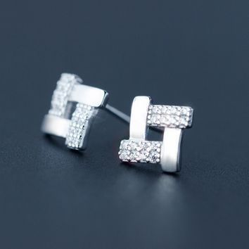 Personalized fashion geometric 925 sterling silver earrings,a perfect gift
