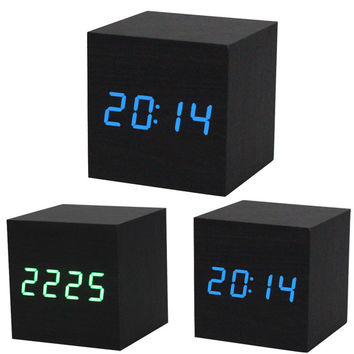 New Qualified 2016 New 1PC Digital LED Black Wooden Wood Desk Alarm Brown Clock Voice Control dig6429