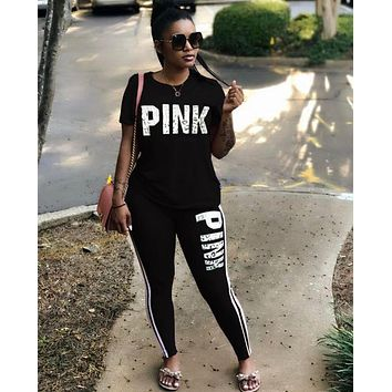 95068867a3e Women Pink Letter Print Sexy Sweatsuit Plus Size Tops+Skinny Pants Sweat  Suits Two Piece