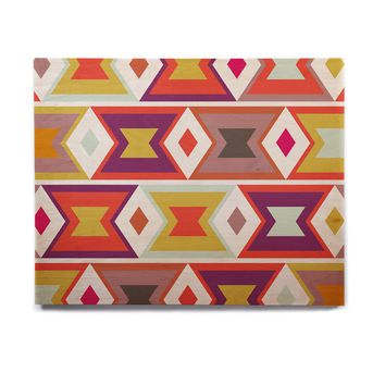 "Pellerina Design ""Aztec Weave"" Orange Purple Birchwood Wall Art"