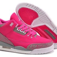 Women Air Jordan 3 Girls Size Pink Grey Jordan 3 Pink Grey - Beauty Ticks