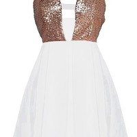 Walk of Fame Dress | White Chiffon Sequin Party Dresses | Rickety Rack