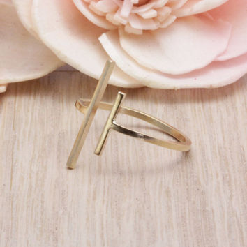 14k gold filled Double bar ring