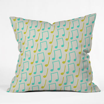 Allyson Johnson Bright Musical Notes Throw Pillow