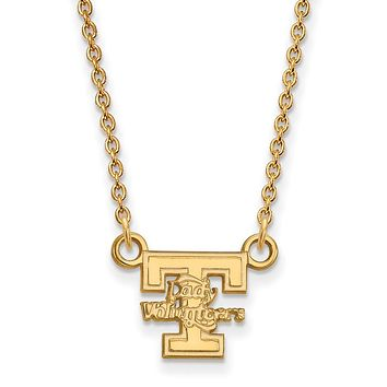 NCAA 14k Gold Plated Silver U of Tennessee Small Ladys Vols Necklace