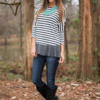 Stripes And Frills Top, Gray/White