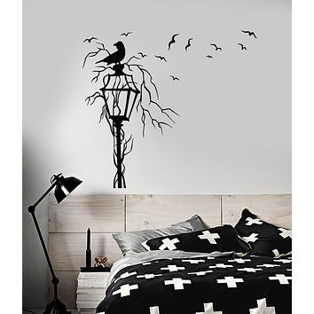 Vinyl Wall Decal Gothic Style Street Lamp Flock Of Birds Raven Stickers (3458ig)