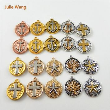 Julie Wang 20PCS Mixed Color Anchor Star Tree Cross Mixed Pendants Necklace Bracelet Jewelry Accessory Suspension Cute Earring