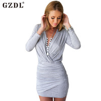 Sexy Party Dresses Spring Autumn 2016 Women Clothing Long Sleeve Bodycon Dress Deep V Neck Plunge Sheath Mini Vestidos CL2216