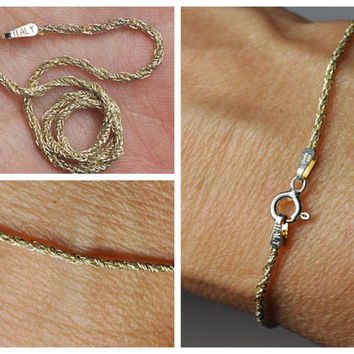 ON SALE Vintage Italy 925 Silver Twisted Rope Chain Bracelet, Gold Vermeil,  Italian Silver, Sparkly!  #B005