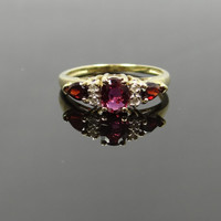 Pretty Vintage 10K Yellow Gold Garnet and Ruby Three Stone Ring - RGRY103P