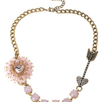Betsey Johnson Beaded Heart And Arrow Necklace
