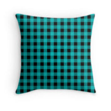 Turquoise Black Gingham Check Pattern by TigerLynx