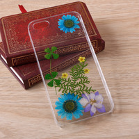 Blue Daisy Sun flower Pressed Flower iPhone Galaxy case 062