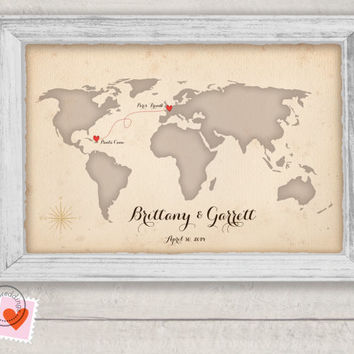 Custom Map wedding guestbook alternative - world map - wedding poster travel map guest book