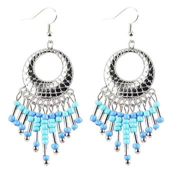 Metal Alloy Fringe Boho Long Tassel Dangle Ear Stud Earrings For Women A