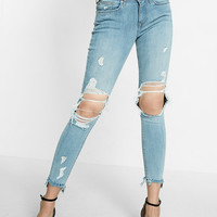 Petite Mid Rise Distressed Frayed Stretch Ankle Jean Leggings